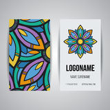 Set of vector design templates. Business card with floral circle ornament. Mandala style. Stock Photography
