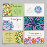 Set of vector design templates. Business card with floral circle ornament. Mandala style. Royalty Free Stock Image