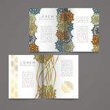 Set of vector design templates. Business card with floral circle ornament. Royalty Free Stock Images