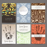 Set of vector design templates. Business card with floral ornament. Royalty Free Stock Photos