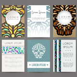 Set of vector design templates. Business card with floral ornament. Royalty Free Stock Image