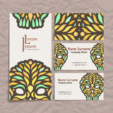 Set of vector design templates. Business card with floral ornament. Stock Photos