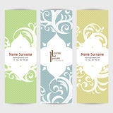 Set of vector design templates. Business card with floral ornament. Vintage style. Royalty Free Stock Images
