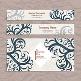 Set of vector design templates. Business card with floral ornament. Vintage style. Stock Images