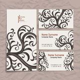 Set of vector design templates. Business card with floral ornament. Vintage style. Royalty Free Stock Image