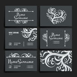 Set of vector design templates. Business card with floral ornament. Vintage style. Stock Image