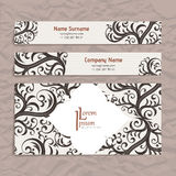 Set of vector design templates. Business card with floral ornament. Vintage style. Royalty Free Stock Photos