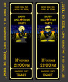 Set vector design ticket on a halloween party with pumpkins, skeleton, cat, candles, lamp, house, bats and spiders  Stock Images