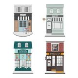 Set of vector detailed design building facade in flat style. Cafe, Barber shop, Bakery,Farmacy.