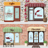 Set of vector detailed design coffee, wine, tea and chocolate shop. Tableand chairs at the fore of tea shop. Barrel with bottle and glass at the fore of wine Royalty Free Stock Photography