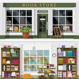 Set of vector detailed flat design bookstore facade and interior. Cool graphic interior design for book shop with books, bookcases. Set of vector detailed flat Stock Photography