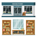 Set of vector detailed flat design bookstore facade and interior. Shop with books, shelves, places for reading. Flat illustration royalty free stock image