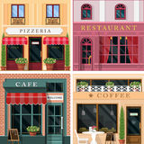 Set of vector detailed flat design restaurants and cafes facade icons. Cool graphic exterior design for restaurant business. Vector illustration stock illustration