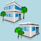 Set of vector detailed office buildings with trees Royalty Free Stock Photography