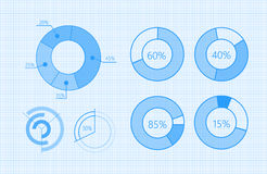 Set of Vector Diagrams for Business Infographics. Set of graphic symbols for infographic. Statistic information presentation vector elements collection. Circle Royalty Free Stock Images