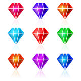 Set of vector diamond icons. Shiny colorful diamonds vector illustration. Icons  on white background. Colorful precious stone logotype, icons set. Jewels and Royalty Free Stock Image