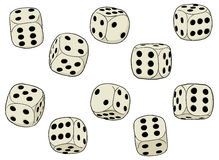 Set of vector dices on a white background. A set of simple vector dices on a white background Stock Image