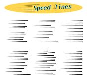 Set of vector different options of simple horizontal lines of speed, movement, black color. Manga cartoon. vector illustration
