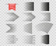 Set of vector different options of simple horizontal lines of speed, movement, black, pattern. Design elements manga cartoon. royalty free illustration