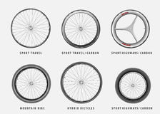 Set of vector different types of bicycle wheels Stock Image