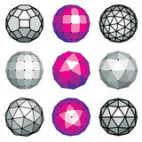 Set of vector dimensional low poly objects, spherical facet shap Royalty Free Stock Photography