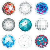 Set of vector dimensional wireframe low poly objects, spherical Stock Photography