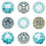 Set of vector dimensional wireframe low poly objects, spherical Stock Photos