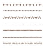 Set vector Dividers isolated on white background. Geometric horizontal vintage line border. Collection of decorative page rules. Broen dividers line Stock Images