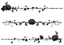 Dividers with roses and ivy. Set of vector dividers with roses and ivy in black  and white Stock Photography