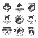Set of vector dog logo and design elements. Set of vector dog logo and icons for dog club or shop, grooming, training, food or veterinary clinic royalty free illustration