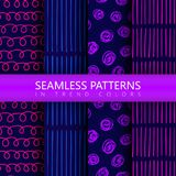 Set of vector doodle background with circles and lines. Black and white colors. Seamless pattern is in the swatches palette Royalty Free Stock Photo