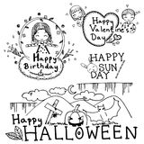Set of vector doodle card design of birthday, happy Sunday, Halloween, and Valentine Stock Images