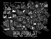 Set of vector doodle drawing Collection Data Information on blac. K background Royalty Free Stock Photos