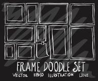 Set of vector doodle drawing Collection Frame white line on black background eps10 stock illustration