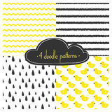 Set of vector doodle patterns. Simple drawings. Eps 10 royalty free illustration