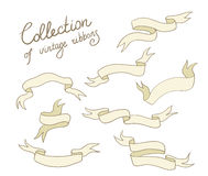 Set of vector doodle ribbons Stock Photos