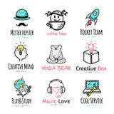 Set of vector doodle and sketch style logos. Stock Photo