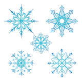 Set of vector doodle snowflakes Royalty Free Stock Photo