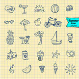 Set of  vector doodle summer icons Stock Photography