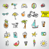 Set of  vector doodle summer icons Stock Photos