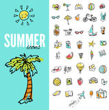 Set of  vector doodle summer icons Royalty Free Stock Image