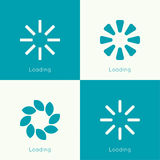 Set of vector downloaders. Progress bar and loading icon. ui preloader web elements. flat design with long shadows Stock Images