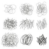 Set of vector drawn tangles, lines, circles, ellipses Doodle sketch. Black line abstract scribble shape. Vector . Eps. vector illustration
