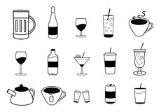Set of vector drink icons. Set of fifteen vector drink or beverage icons in black color. There are alcoholic and non-alcoholic beverages. Vector eps format 10 is Royalty Free Stock Images