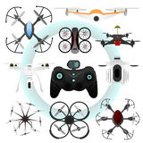 Set of vector drones. Stock Image