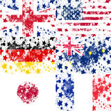Set vector Eanglish, USA, German, Australia, Japan, France grung Royalty Free Stock Photos