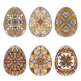Set of vector easter eggs with beautiful oriental ornaments. Collection of decorative isolated elements to Easter Royalty Free Stock Photography