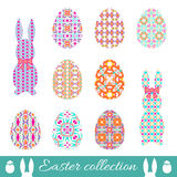 Set of vector easter eggs and bunnies with spring ornament. Collection of decorative elements with bright patterns to Easter Royalty Free Stock Photo