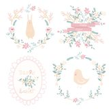 Set of vector easter frames and elements Royalty Free Stock Photos