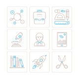 Set of vector education icons and concepts in mono thin line style.  Royalty Free Stock Photos